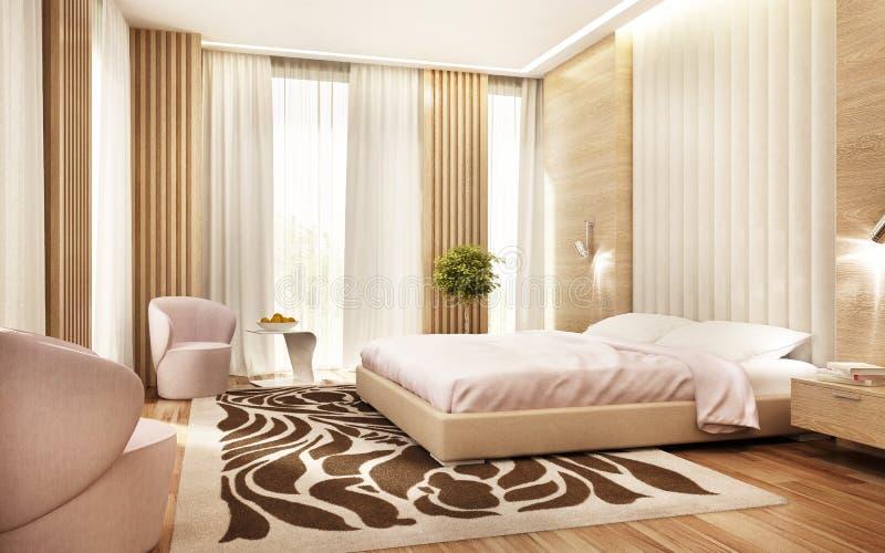 有许多窗口的现代卧室 库存照片