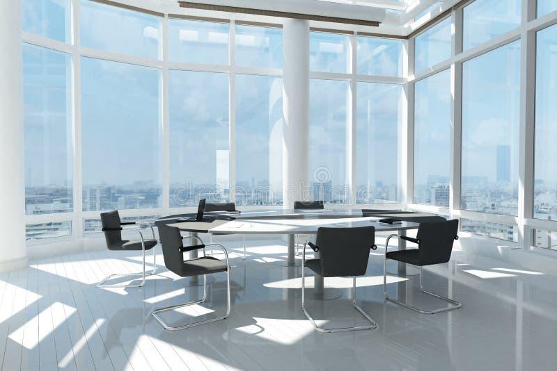 有许多窗口的现代办公室 向量例证