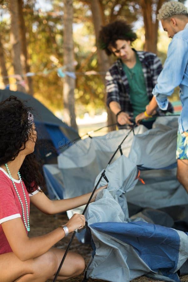 有设定帐篷的男性朋友的少妇 库存图片