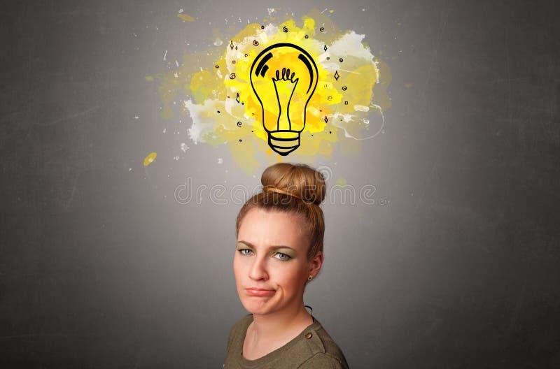 有设计想法的概念的女孩 免版税库存照片