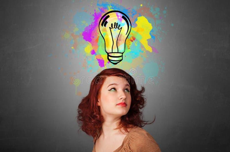 有设计想法的概念的女孩 免版税图库摄影