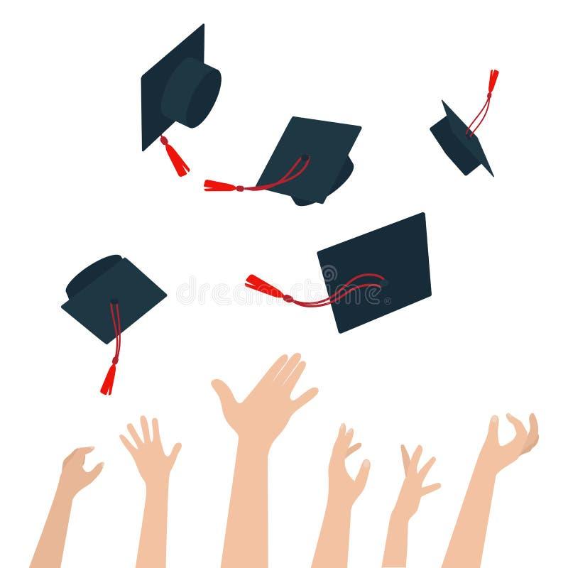有证明和投掷毕业盖帽的人变化  向量例证