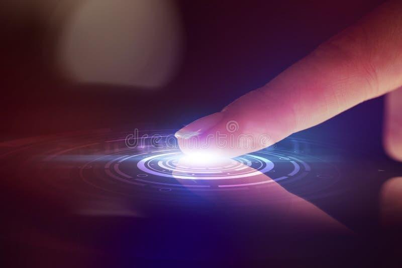 有证明概念的手指触板 图库摄影