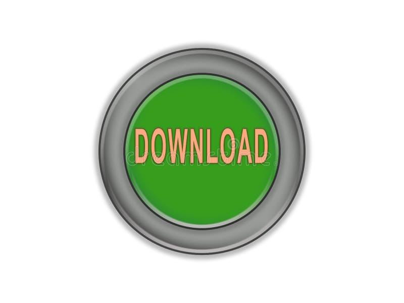 有词下载的大块绿色按钮,白色背景 皇族释放例证