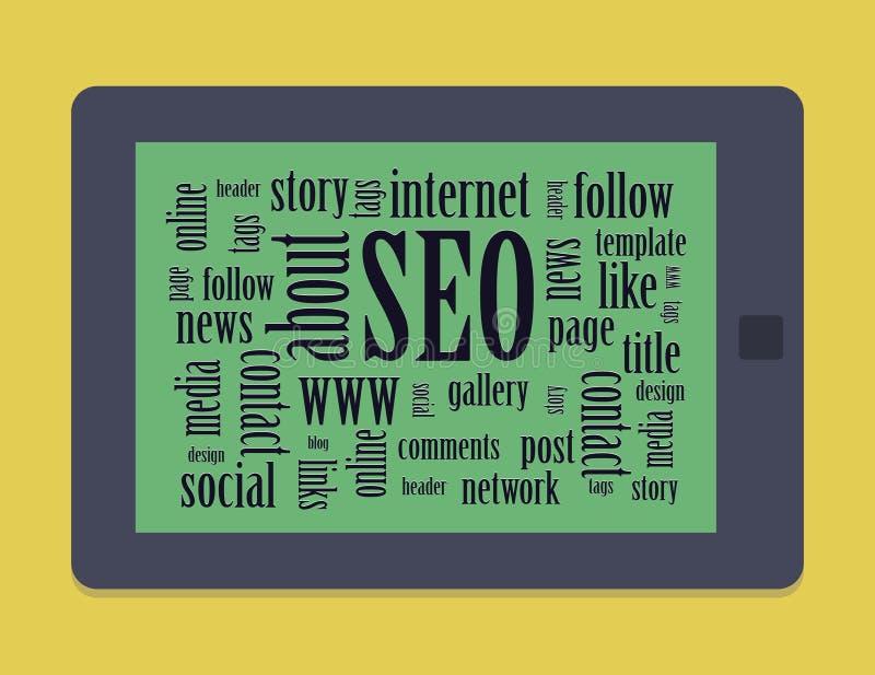 有词或标记的平的片剂与网关连 库存例证