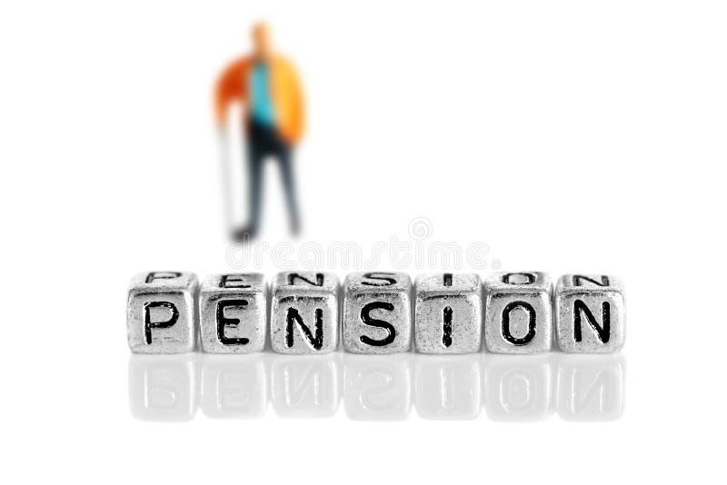 有词退休金的微型比例模型领抚恤金者 库存照片