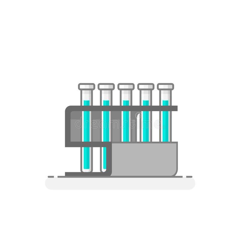 有试管和化工液体的科学机架- 免版税图库摄影