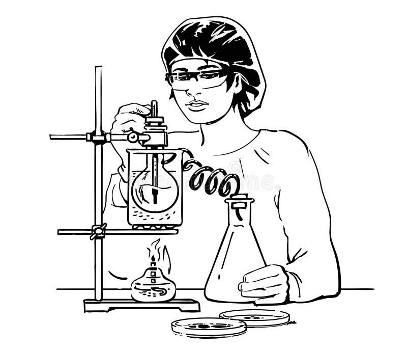 有试管的女性科学家 工作在实验室的实验员 向量 向量例证
