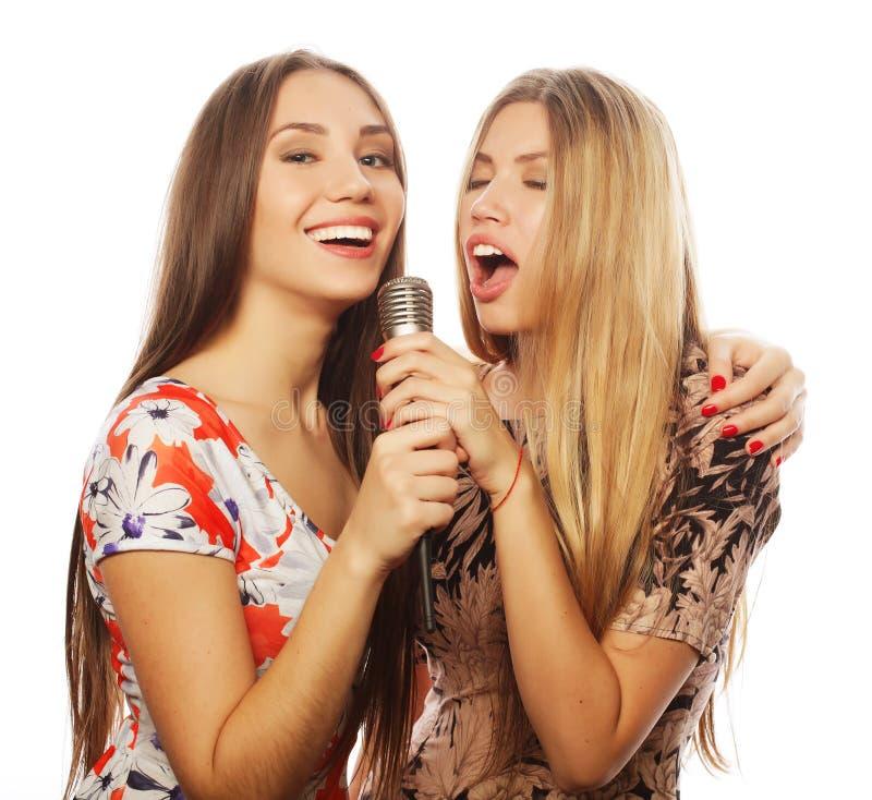 有话筒的获得两个秀丽的女孩唱和乐趣 免版税库存图片