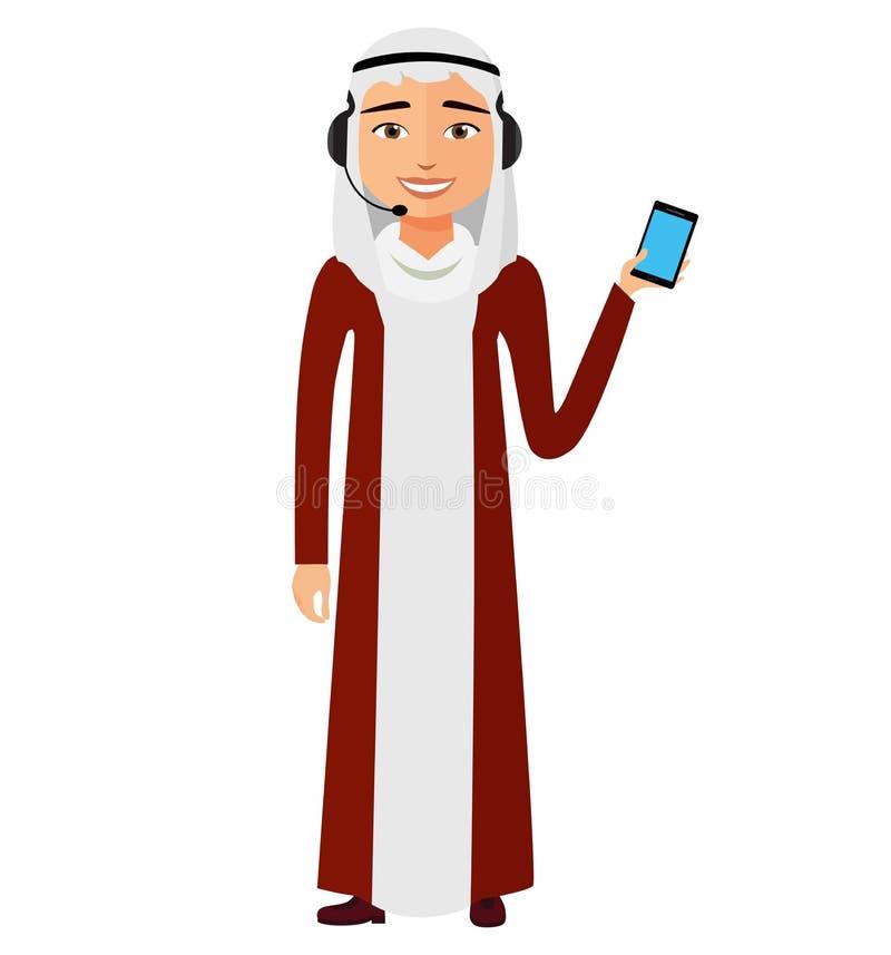 有话筒的阿拉伯顾客服务电话中心操作人员在du 库存例证