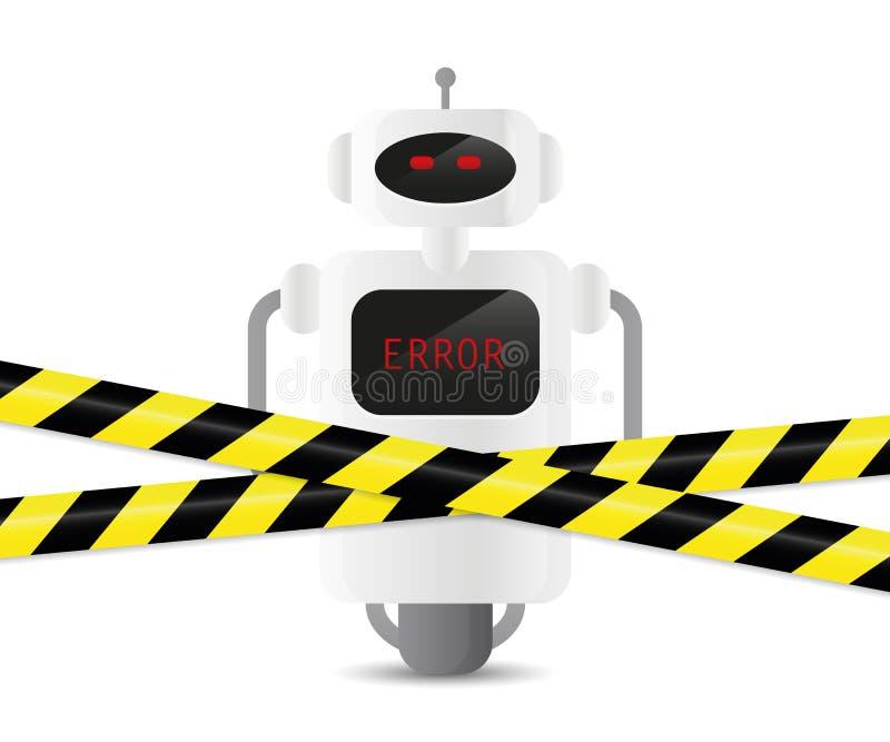 有误差编码和警告磁带的瑕疵机器人 库存例证