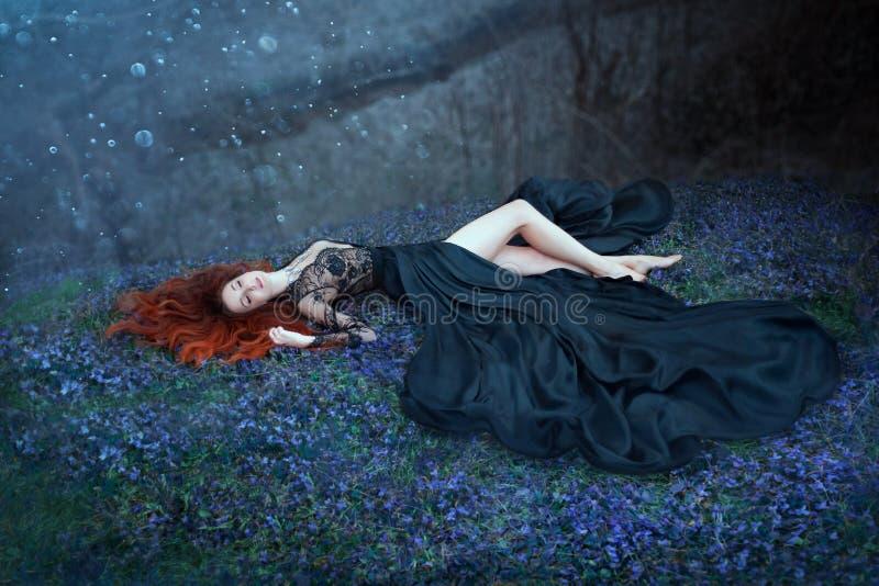 有说谎在草的红色头发的女孩在黑暗的森林,黑人女王/王后在争斗丢失了,迷住长的黑皇家礼服的夫人 库存图片