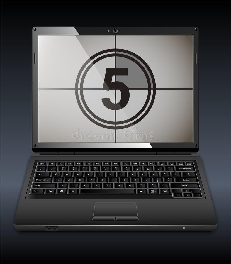 有读秒的膝上型计算机在屏幕上 库存例证