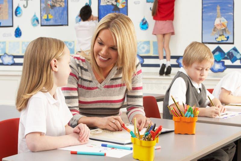 有课程主要学童教师 免版税库存图片