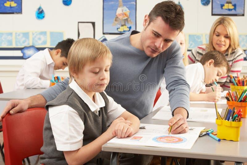 有课程主要学童教师 免版税库存照片