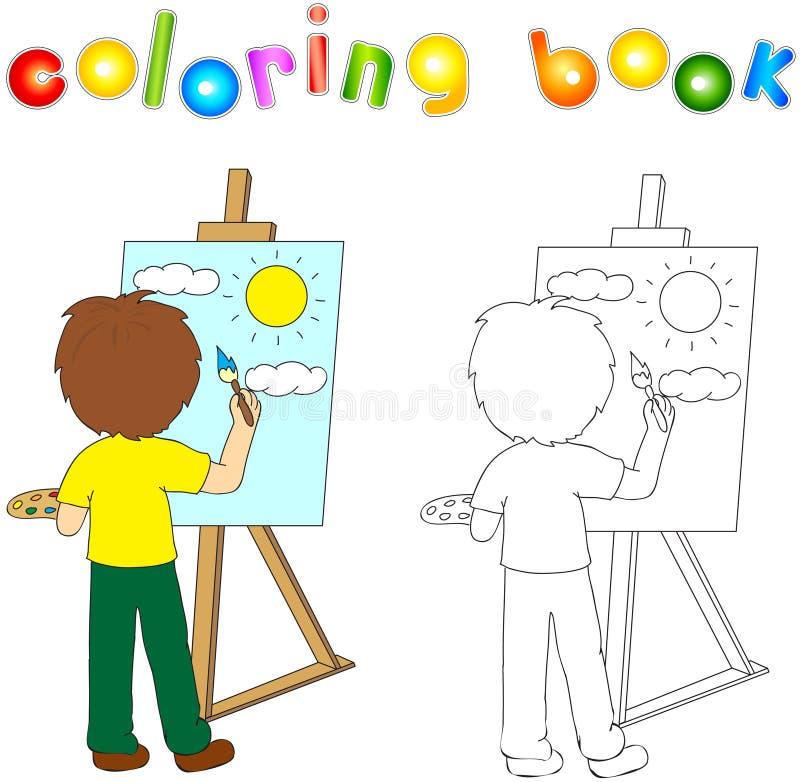 有调色板和刷子绘画的男孩在帆布 有h的艺术家 皇族释放例证