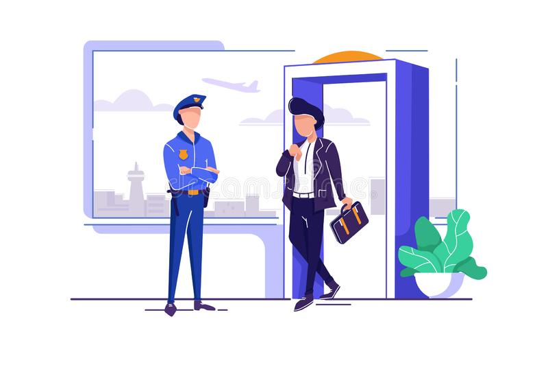 有豪华的发型的,手提箱检查平的年轻人在警察附近的机场 向量例证