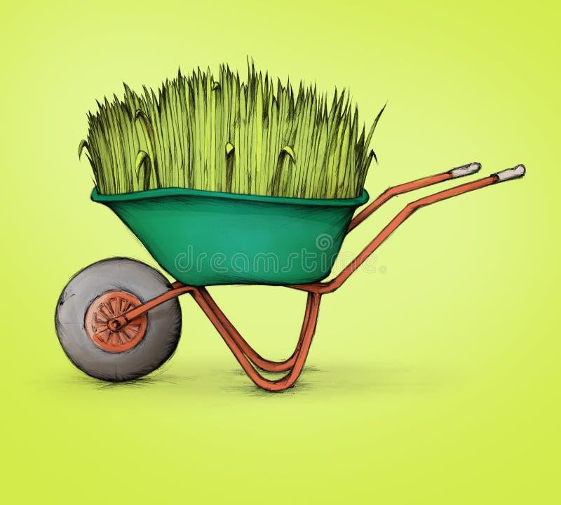 有豪华的草的独轮车 库存例证