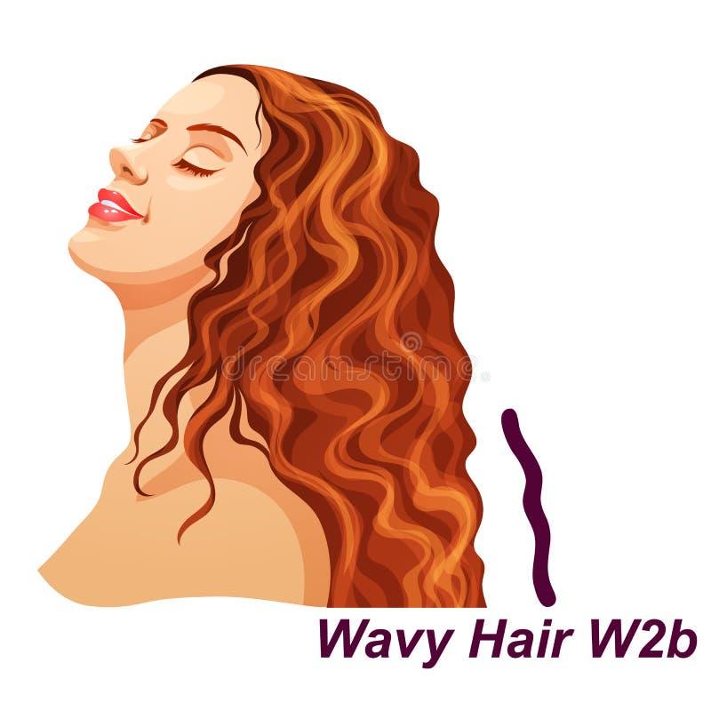 有豪华长的卷曲深色的发型的女孩 向量例证