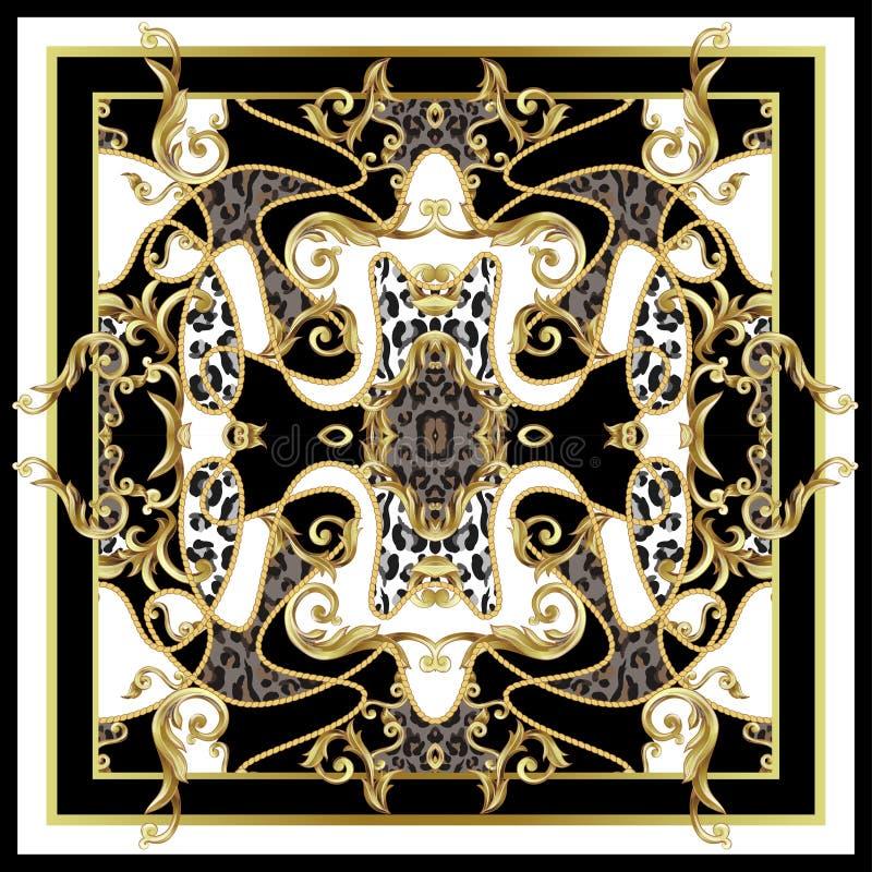 有豹子皮肤和金黄巴洛克式的元素的设计围巾 向量 向量例证