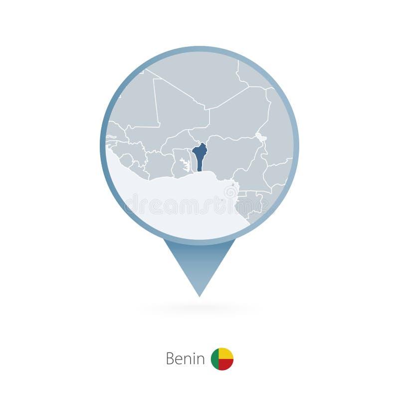 有贝宁和邻国详细的地图的地图别针  皇族释放例证