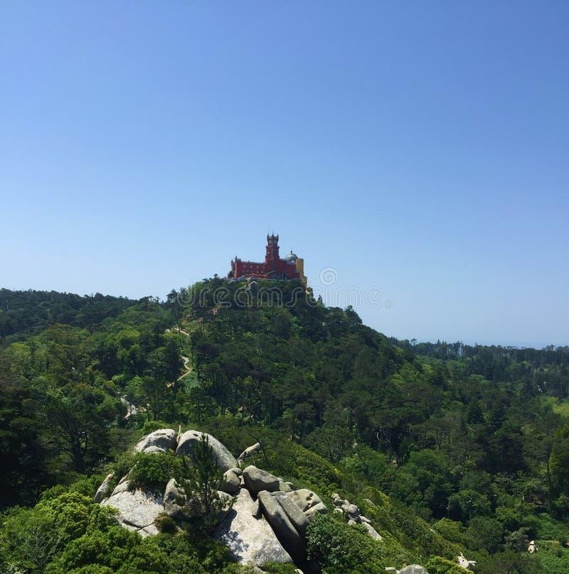 有贝纳宫殿的小山顶摩尔人堡垒  免版税库存照片