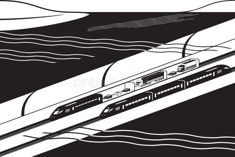 有货物和客车的水下的铁路隧道 库存例证