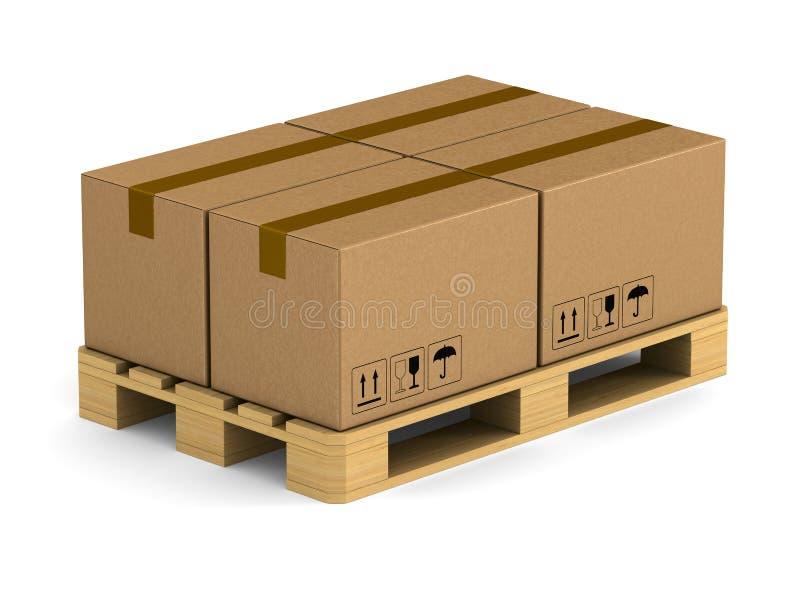 有货物箱子的木板台在白色背景 被隔绝的3D il 皇族释放例证