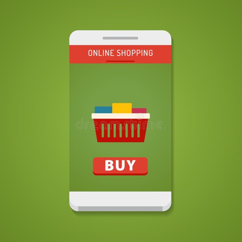 有购买按钮的智能手机在屏幕上 免版税图库摄影