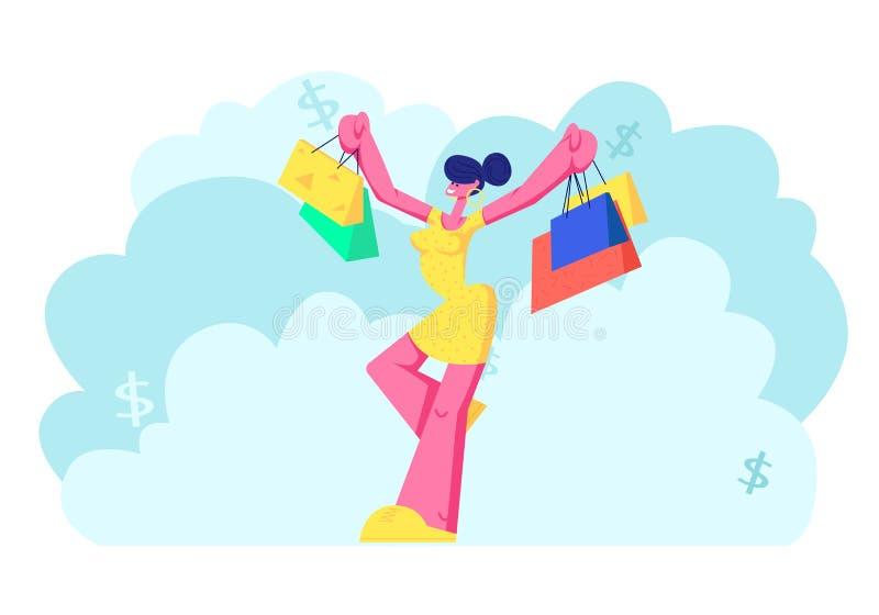 有购买的快乐的Shopaholic女孩在五颜六色的纸袋 拿着购物包裹的愉快的妇女 女性买家 库存例证