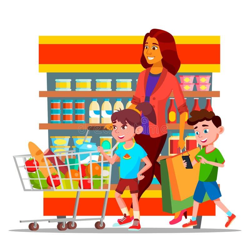 有购物在大型超级市场传染媒介字符的孩子的母亲 库存例证