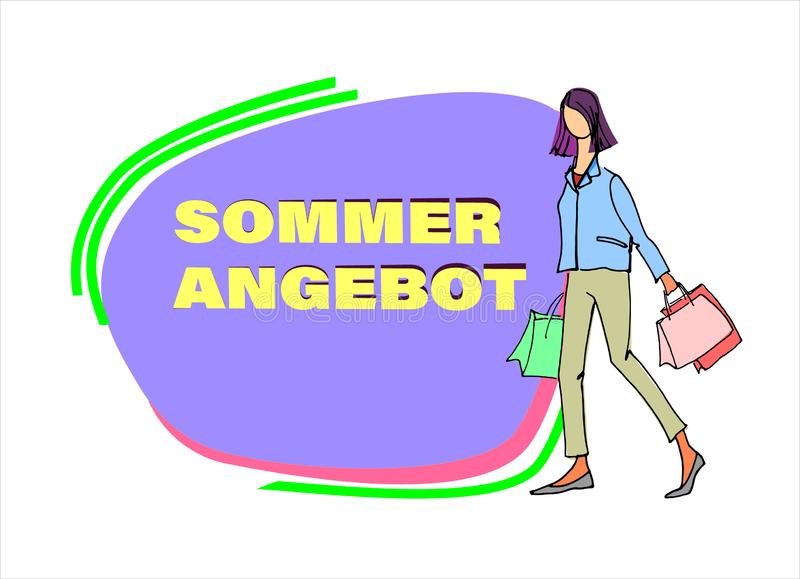 有购物带来例证的年轻女人与夏天销售签到后面 文本用德语读夏天提议 库存例证