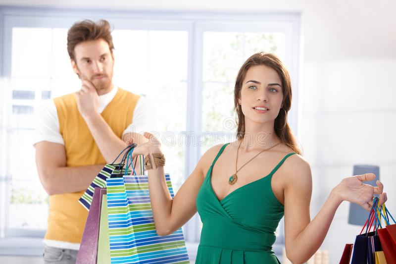 有购物袋的Shopaholic妇女 免版税图库摄影