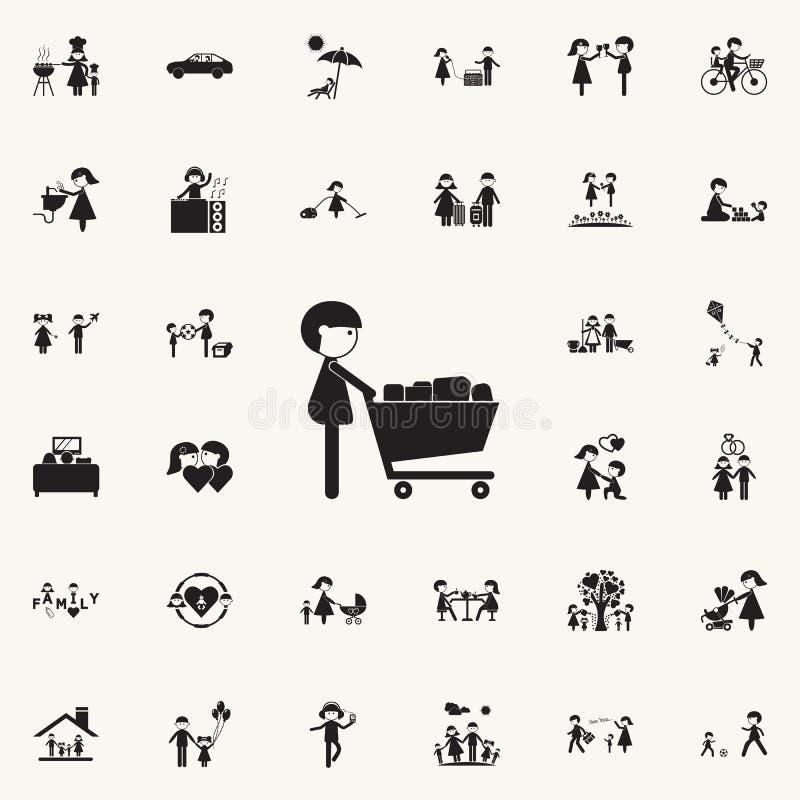 有购物carticon的人 网和机动性的家庭象全集 库存例证