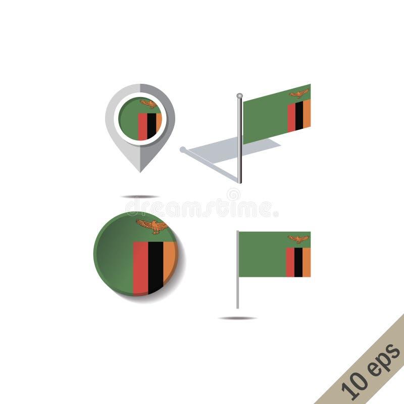 有赞比亚的旗子的地图别针 库存例证