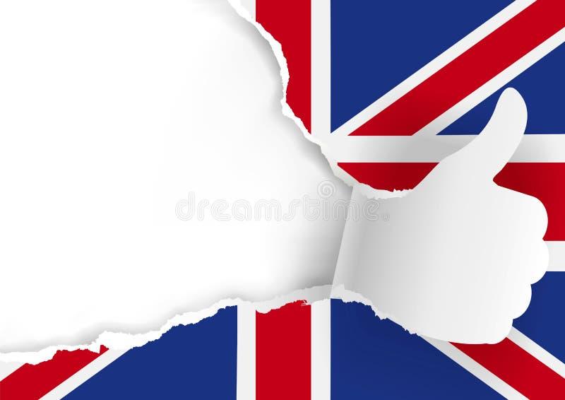 有赞许和英国旗子的纸手 皇族释放例证