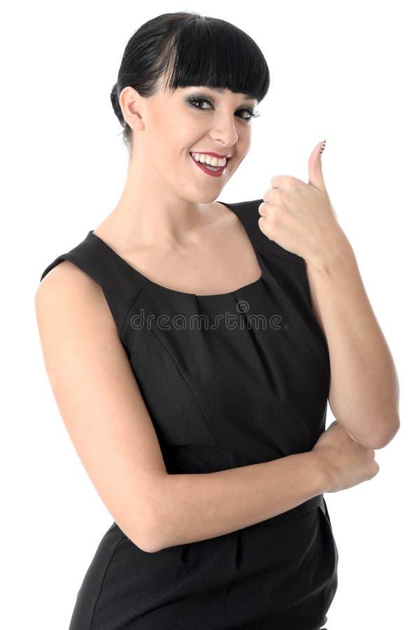 有赞许微笑的正面愉快的快乐的妇女 免版税库存照片