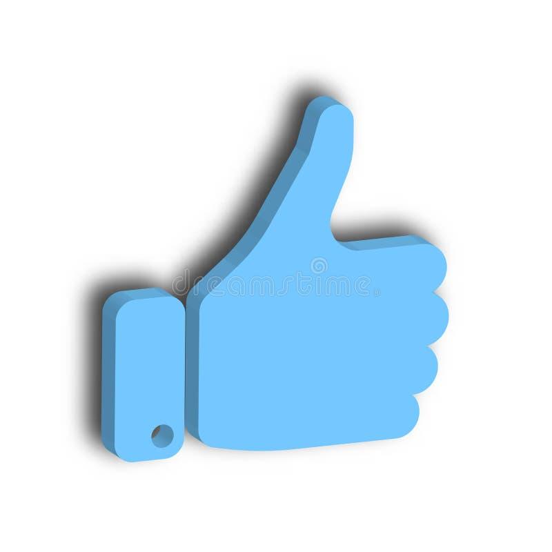 有赞许的蓝色手 姿态象,同意,是,认同或鼓励 3d例证向量 向量例证