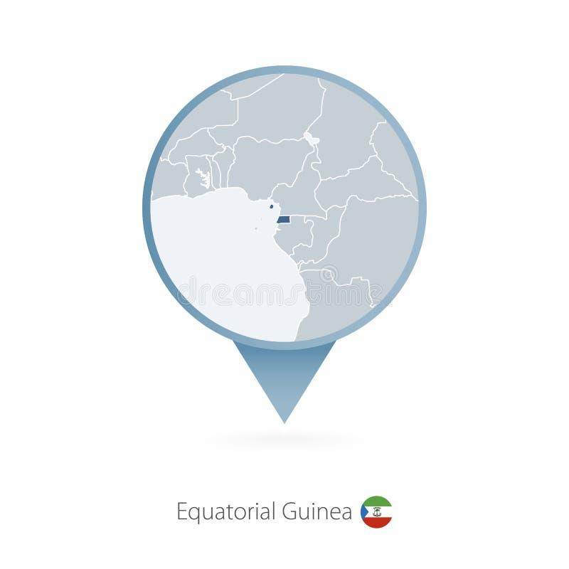 有赤道几内亚和邻国详细的地图的地图别针  向量例证