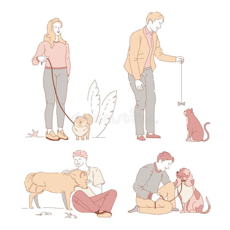 有走在皮带的宠物所有者的人们和狗或者猫在公园 皇族释放例证