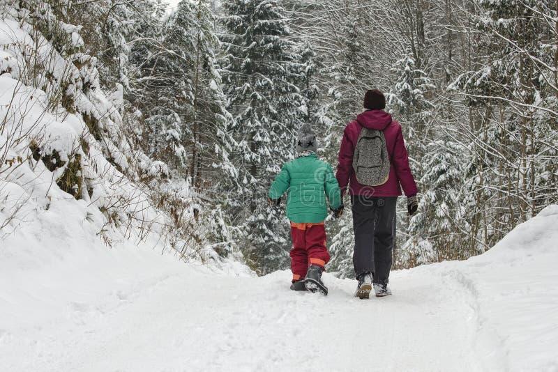 有走沿积雪的路的儿子的母亲以具球果森林冬日为背景 免版税库存照片