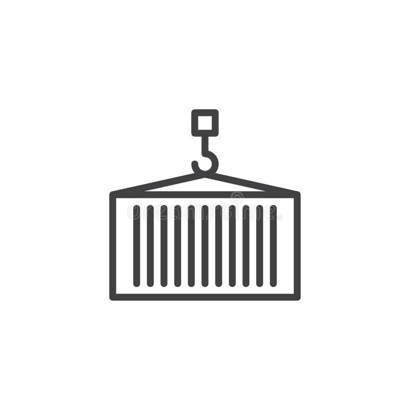 有起重机线的象交付容器 库存例证