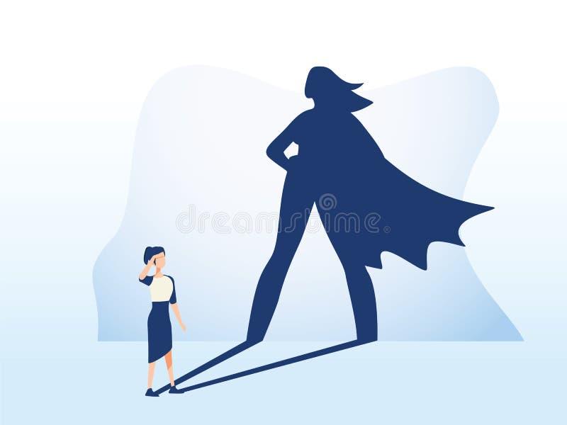 有超级英雄阴影传染媒介概念的女实业家 解放志向、成功和刺激的企业标志 库存例证