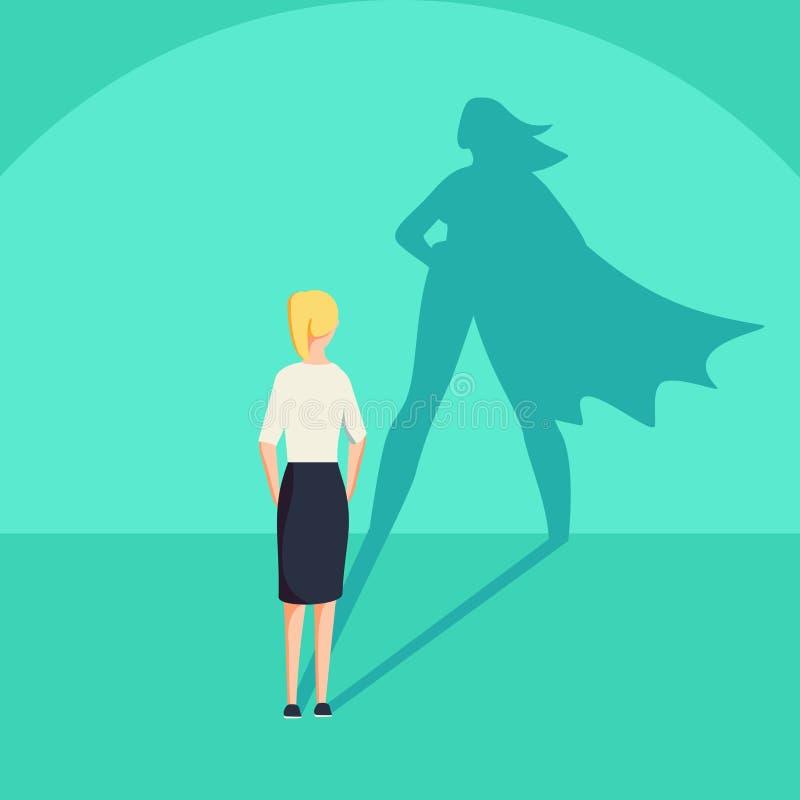有超级英雄阴影概念的女实业家 解放志向和成功刺激的企业标志 皇族释放例证