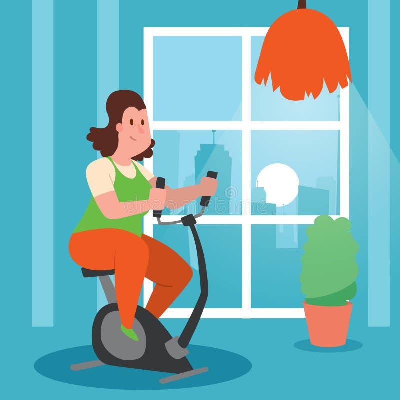 有超重做的锻炼横幅传染媒介例证的女孩 丢失重量的妇女训练 锻炼脚踏车在家 皇族释放例证