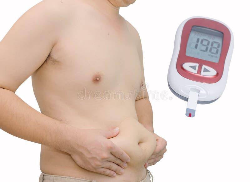 有超重的与高血糖水平的人和glucometer 库存图片