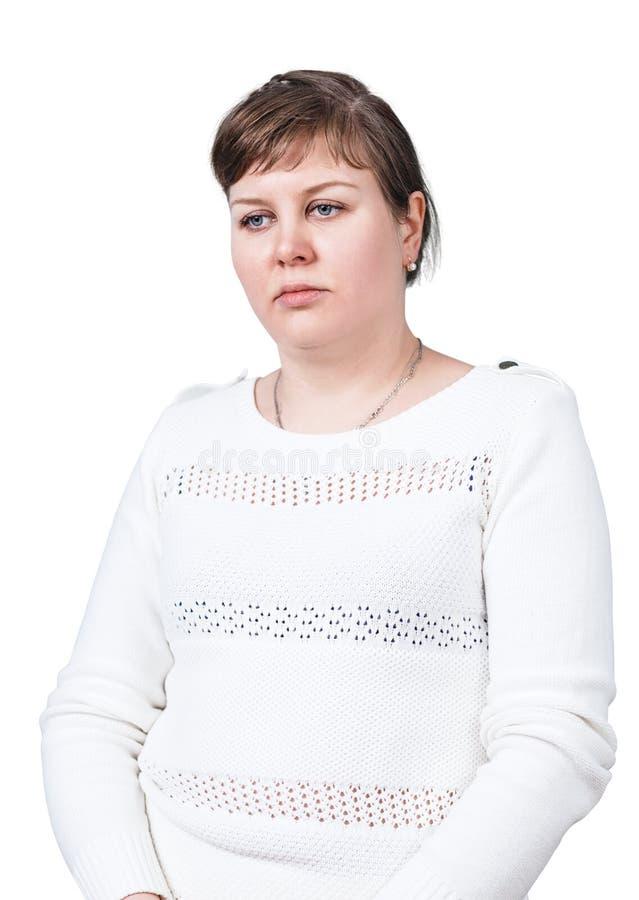 有超重的哀伤的妇女 免版税库存图片