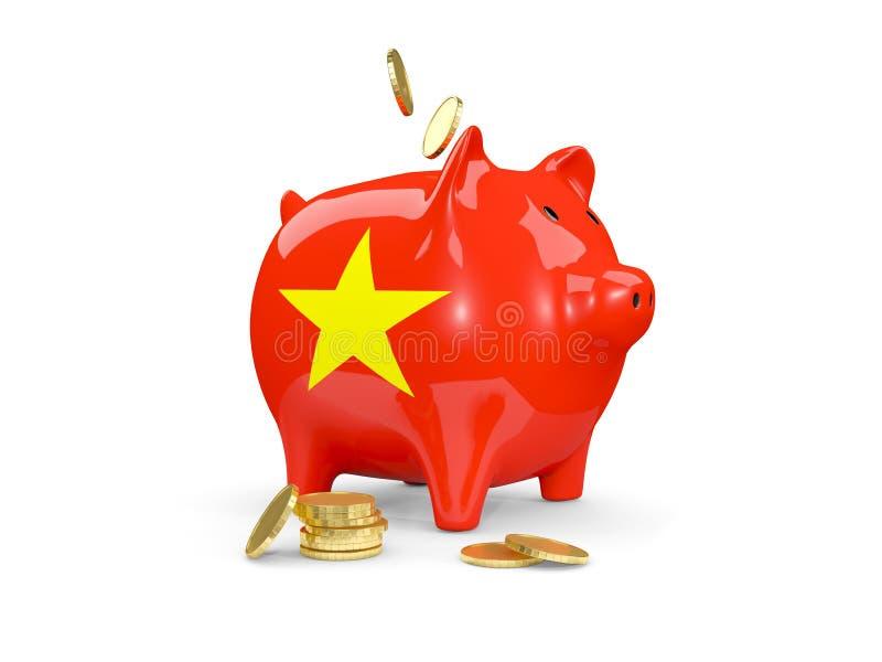 有越南的旗子的肥胖存钱罐 向量例证