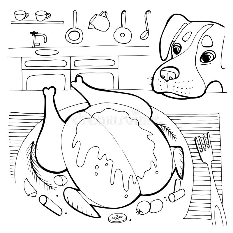 有趣的快乐狗角色要食物 矢量手绘动画插图 库存例证