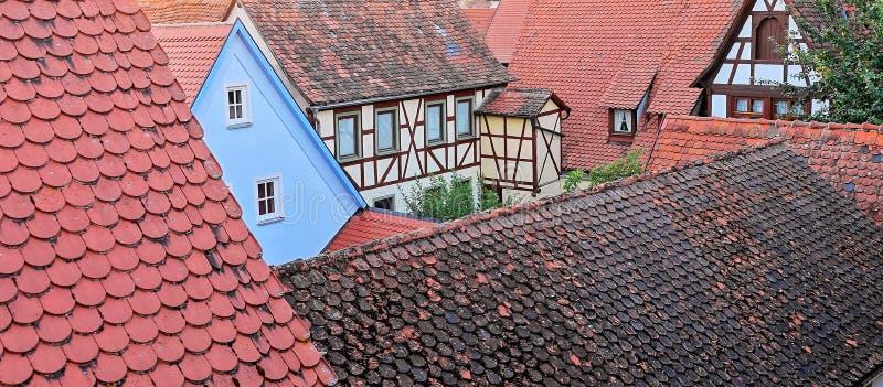 有趣的饲料红色铺磁砖的中世纪屋顶 免版税库存图片